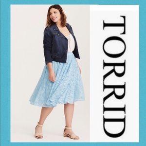NWT! Torrid Blue Lace Midi Skirt 1X